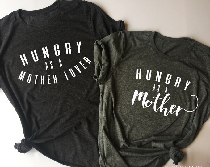 Thanksgiving Baby Announcement Matching Tshirts for Mom and Dad Hungry as a Mother Lover