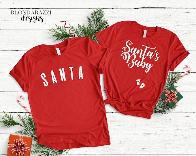Christmas Pregnancy Announcement Shirts - Santa and Santa's Baby matching mom and dad shirts