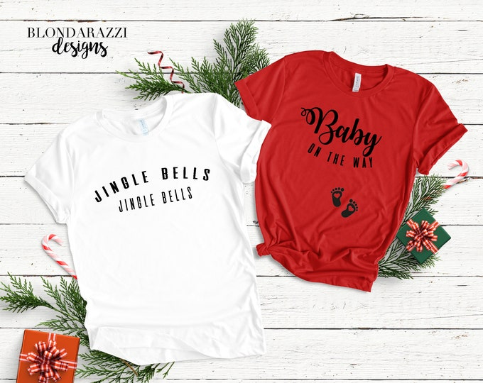 Christmas Pregnancy Announcement Shirts - Jingle Bells Baby On The Way matching for mom and dad