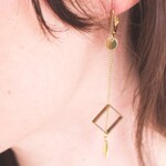 Earrings long brass geometric