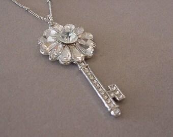 Rhinestone Skeleton Key Necklace Steampunk Necklace steampunk jewelry Rhinestone Jewelry skeleton key jewelry