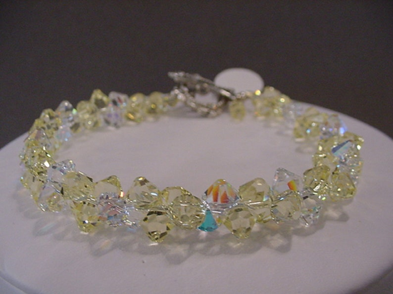 b1f20a0e90514 Jonquil Yellow SWAROVSKI Crystal BRACELET Top Drilled Swarovski Crystal  Bracelet Bridal Jewelry