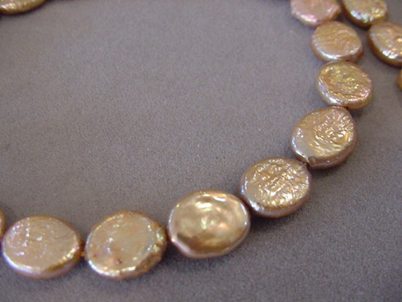 9mm 10mm Freshwater coin Pearl Beads Copper Natural Pearls 16 inch strand 37 beads Destash Beads