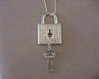 Rhinestone Keyhole Necklace Lock and Key Necklace Steampunk Necklace steampunk jewelry Rhinestone Key Padlock Keyhole Jewelry