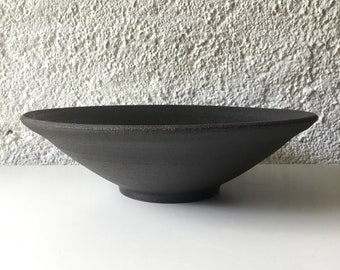 Black salad 28.5 cm. Ceramic salad. Wide flared dish. Black dish. Ceramic dish, serving dish, decoration, crockery, gift.