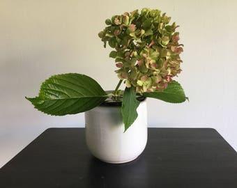 Ceramic flower. Bud vases. White stoneware vase glazed with black cap in quilted flowers.
