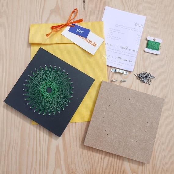 kit string art rosace d butant tuto fils tendus vert etsy. Black Bedroom Furniture Sets. Home Design Ideas