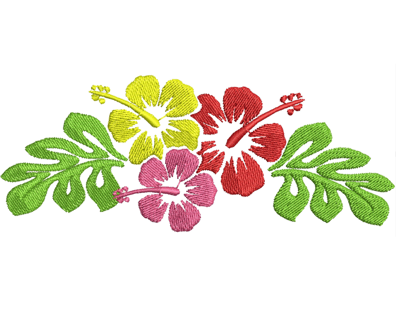 Hawaiian Flower Frame embroidery design summer hibiscus | Etsy