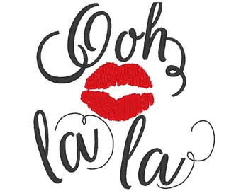 Ooh la la French style kiss designs sizes for hoop 4x4, 5x7 kiss red lips love romantic machine embroidery designs INSTANT DOWNLOAD