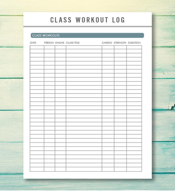 printable fitness planner workout log workout tracker etsy