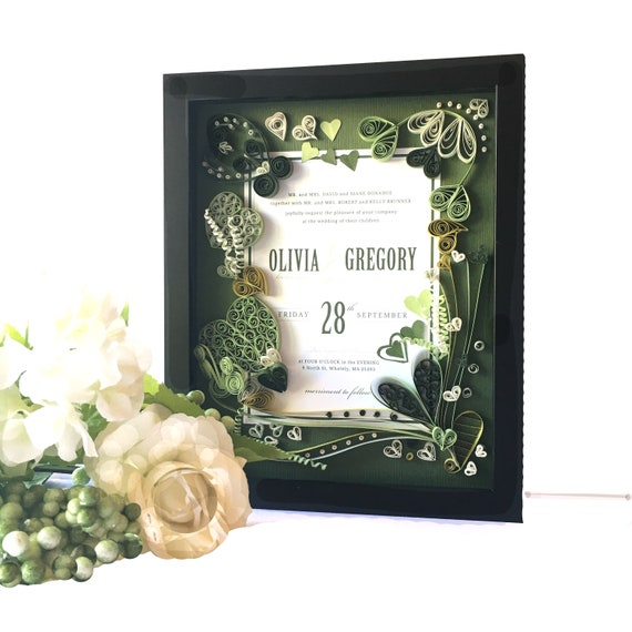 forest green heart themed wedding invitation keepsake gift for etsy
