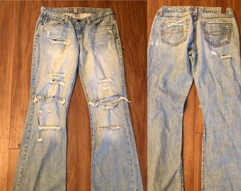 1605367df6 Vintage Abercrombie and Fitch distressed destroyed denim WOMEN boho jeans 4  28