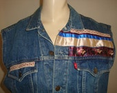 vintage 80s LEVI DENIM JEAN plaid shabby roses heart ribbons trim women vest jacket small medium boho bohemian