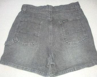 1a7cc691 30 31 inch waist VINTAGE 90s Lee faded black Denim jean HIGH waist carpenter  shorts grunge hipster women