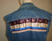 vintage 80s LEVI DENIM JEAN plaid shabby roses heart ribbons trim women vest jacket small medium boho bohemian