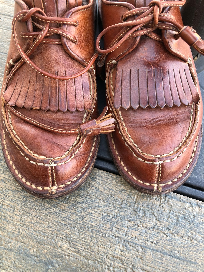 220a5d24555 Vintage Cole Haan Country BROWN leather fringe kiltie lace up | Etsy