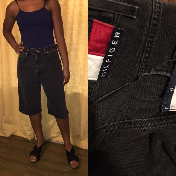 Hilfiger jeans boyfriend high boy 32 black faded Tommy hop denim waist waist hip Vintage 90's shorts carpenter cROaEE