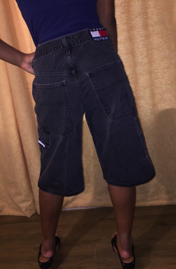 Vintage Hilfiger hop jeans black 32 boy denim hip boyfriend faded high Tommy shorts waist 90's carpenter waist rE7wqrUA