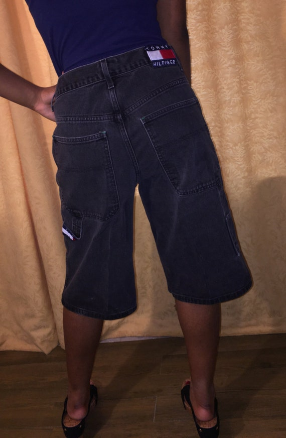 boy hip hop carpenter shorts 90's waist waist denim Hilfiger high jeans Vintage 32 boyfriend Tommy black faded qftggHOx