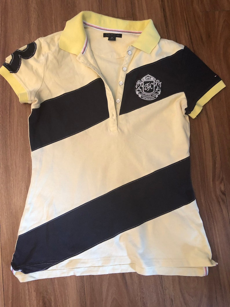 vintage Tommy Hilfiger polo diagonal yellow woman short sleeve stripe top jumper small
