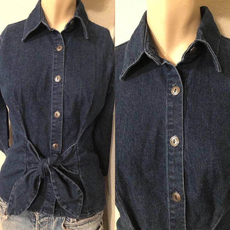 vintage waist Bow tie denim jean oxford button down shirt women 34 sleeve small