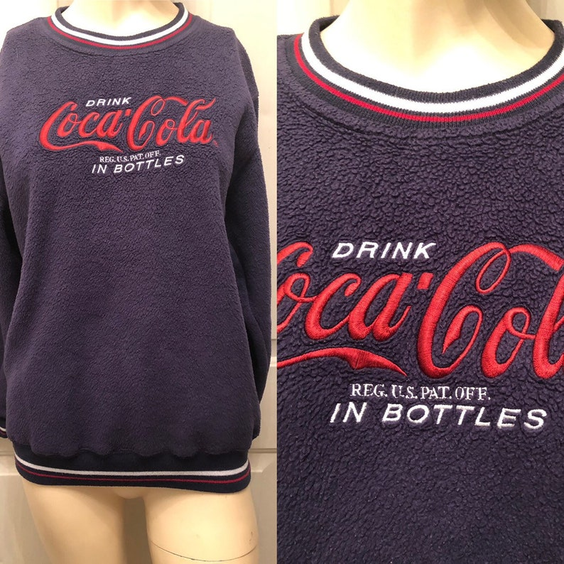 vintage Embroidered COCA COLA Brand on blue fleece Knit Jumper  women sweater small pullover