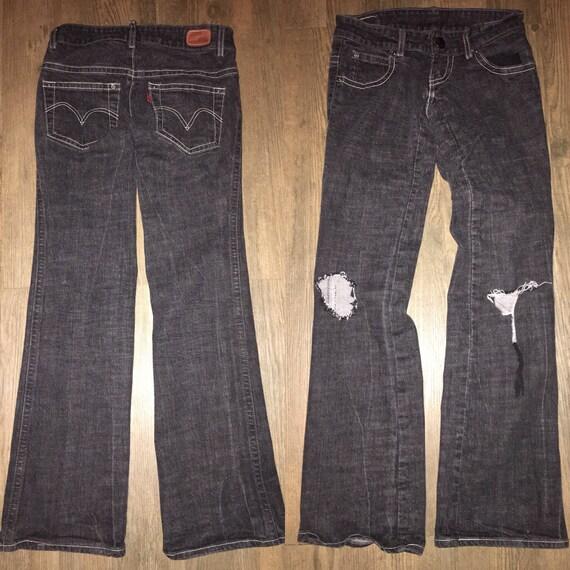 LEVIS leg size jeans busted knee 3 black denim distressed flare 7q7AH