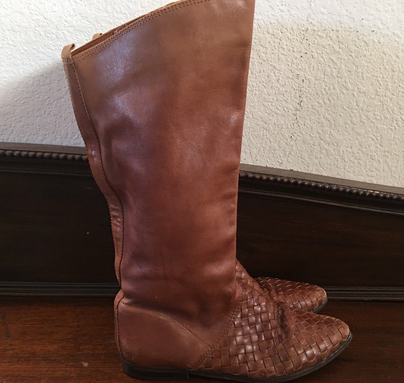 vintage Brazil made woven whiskey brown leather flat heels boots hipster indie boho women size 8 us