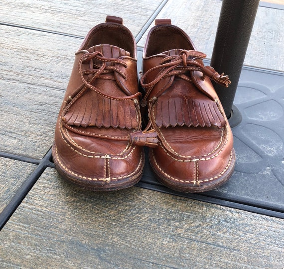 vintage up shoes BROWN indie size lace boho fringe Cole Haan leather 6 hipster kiltie Country women oxfords S8rSzq