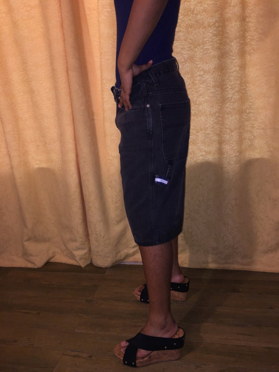 boyfriend waist carpenter Tommy jeans boy faded 32 90's hip hop Hilfiger shorts high Vintage waist black denim qP8Fv4A