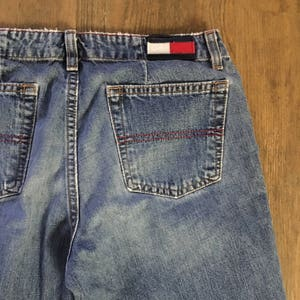Vintage 90/'s Tommy Hilfiger denim flare flap pkt distressed mom jeans  sz 4