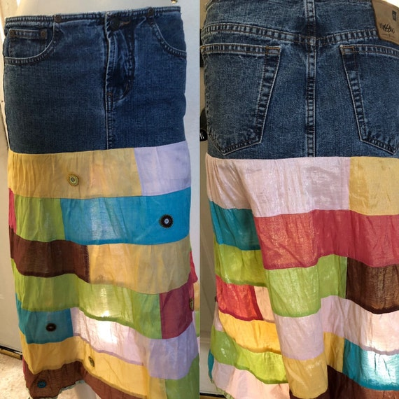 Vintage skirt denim skirt hippie patchwork bohemia