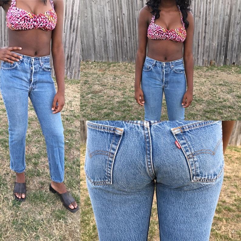 ae3374af Vintage Levi 501 medium wash High waist jeans denim women | Etsy