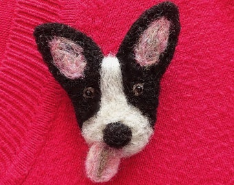 Dog pin, needle felted brooch for dog lovers, dog themed gifts, cute Christmas brooches, gifts for dog walkers, dog brooch pin