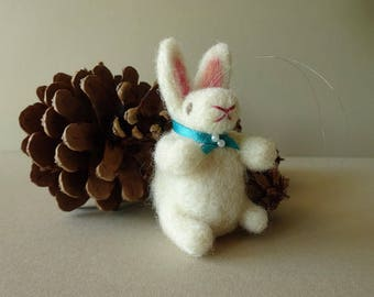 Bunny rabbit, white forest animal country cottage decor, handmade Christmas decoration, needle felted farm house ornament