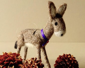 Needle felted donkey ornament, donkey gifts, Christmas tree decoration, rustic holiday ornament, farm animal decor