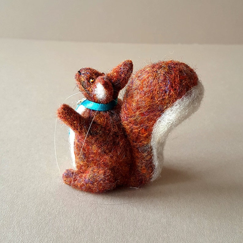 Squirrel figurine  Squirrel ornament made from needle felted image 0