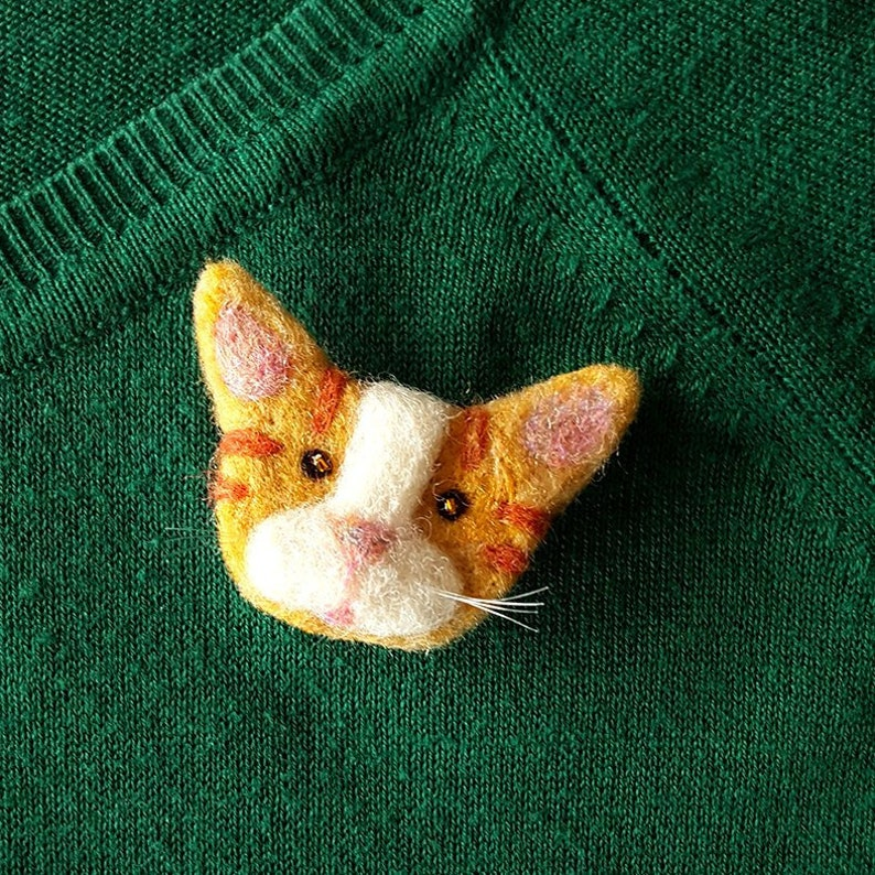 orange cat pin brooch needle felted cat pin badge cat brooch image 0