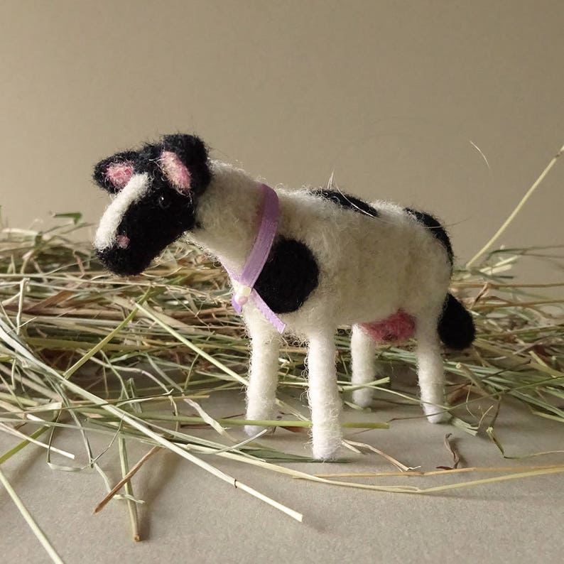 Cow  Hanging cow ornament  Christmas farm decor  Wool felt image 0
