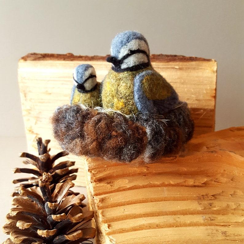 Handmade bird ornament  British wildlife  Blue tits  Needle image 0