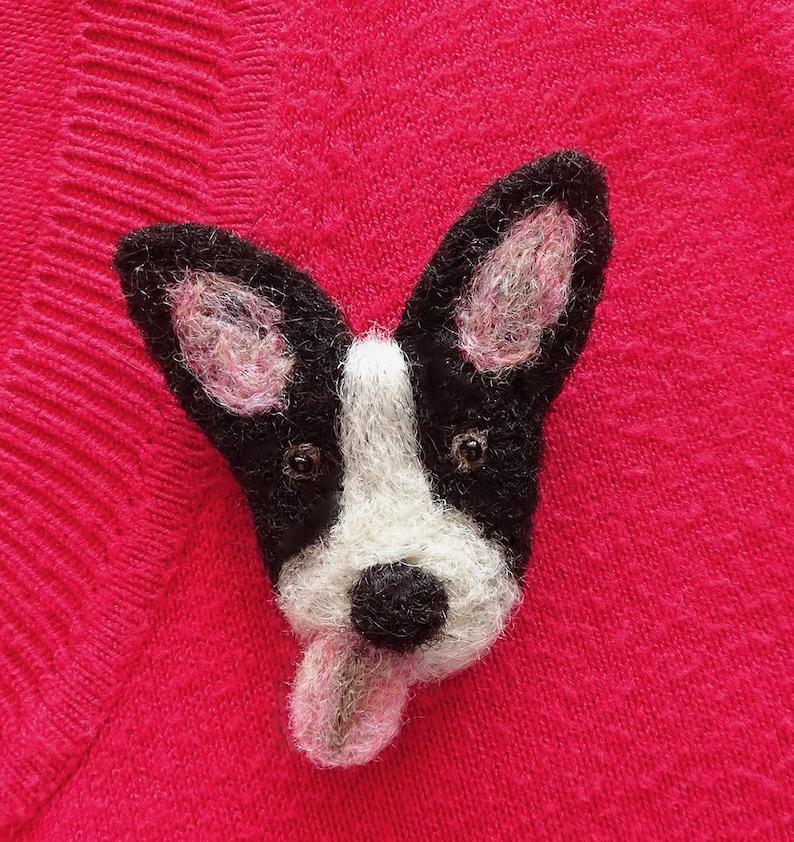 Needle felt dog brooch pin  Cute dog pins  Fun dog jewelry image 0