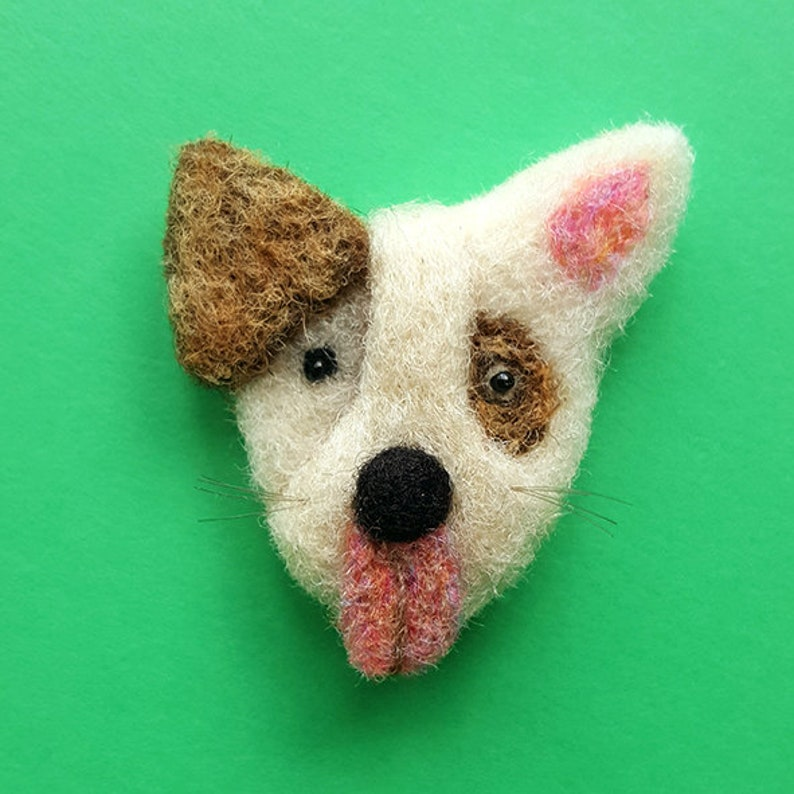 Dog  Brown and white dog pin  Puppy brooch  Little puppy image 0