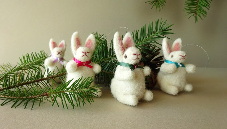 Bunny rabbits  Rustic Christmas tree decorations  Needle image 0