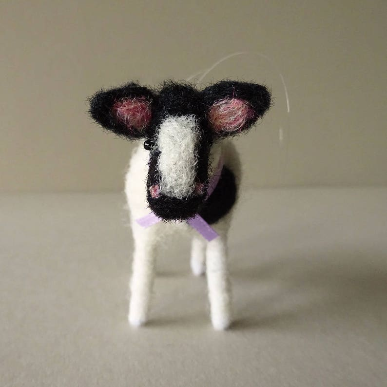 Christmas farm decor wool felt animal ornament needle felted image 0