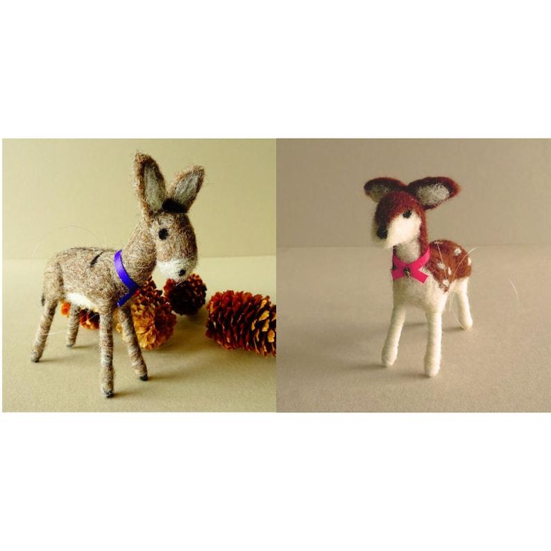 donkey and deer miniatures needle felt barnyard animals image 0