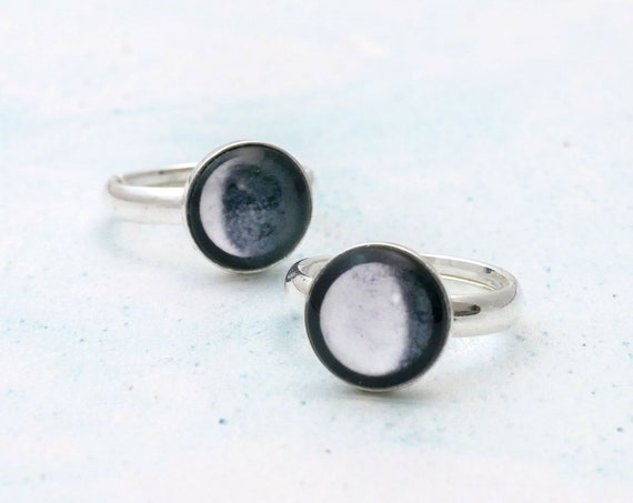 Sterling Silver Adjustable Moon Phase Ring
