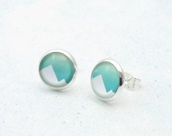 Mountain Earrings, Mountain Jewelry, Mountain Studs, Geometric Studs, Mountain Gift, Wanderlust, Geometric Earrings, Travel Gift