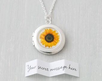 Sunflower Locket, Sunflower Necklace, Sunflower Gift, Sunflower Jewelry, Locket Necklace, Personalised Locket, Photo Locket