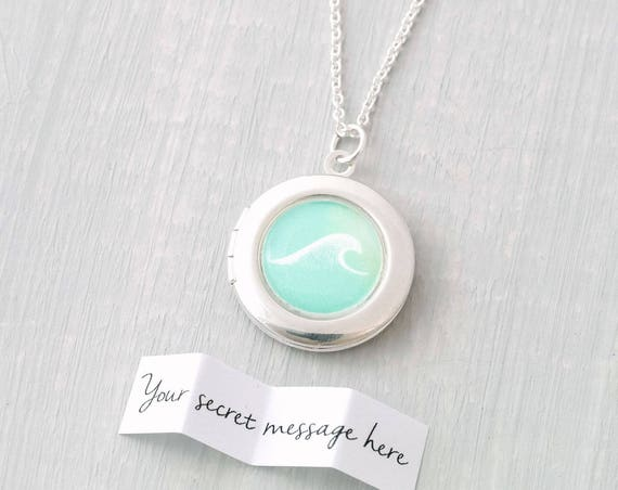 Personalised Wave Locket Necklace