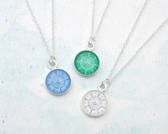 Sterling Silver Birthstone Compass Necklace